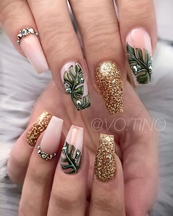 Green Leaves And Gold Glitter #nails #fall nails #beauty #trendypins