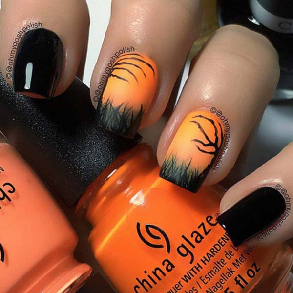 Sunset in a Dark Forest #nails #Halloween nails #trendypins