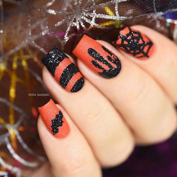 Halloween Nail Art Ideas Orange Base And Color Black Web Glitter Design