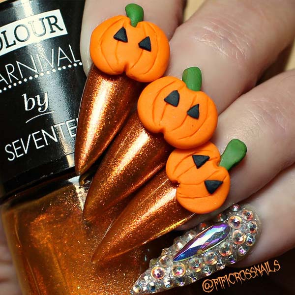 Halloween Nails Ideas With 3D Orange Pumpkin On Orange Shiny Pumpkins #Halloween #nails #trendypins