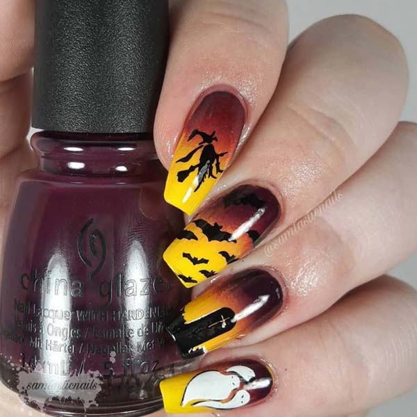 Witch Halloween Art Design #nails #Halloween nails #trendypins