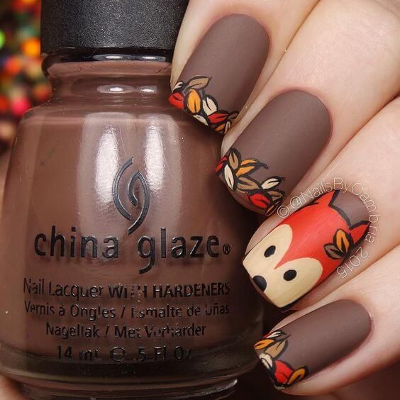 Leaves French Manicure On Matte Brown Nails #nails #fall nails #beauty #trendypins