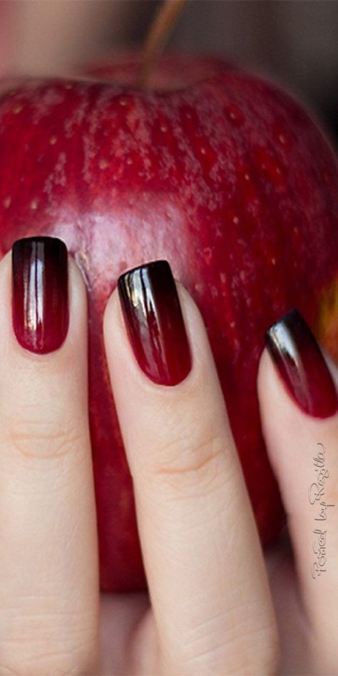 Nail Design In Ripe Red Apple Color #nails #fall nails #beauty #trendypins