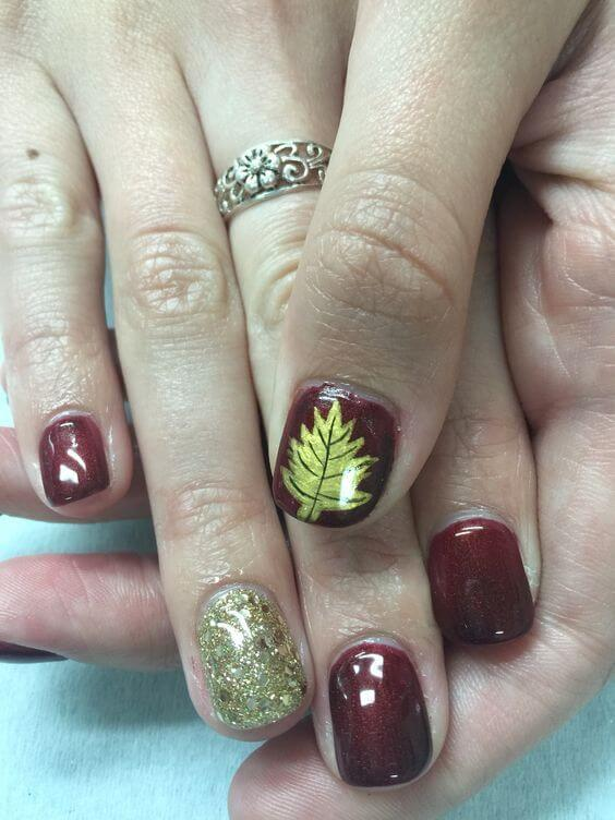Nail Design With Wine And Leaves #nails #fall nails #beauty #trendypins
