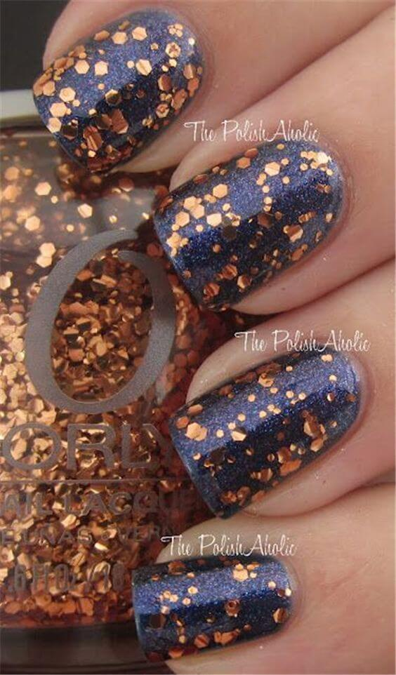 Nails with Navy and Gold Chunky Glitter #nails #fall nails #beauty #trendypins