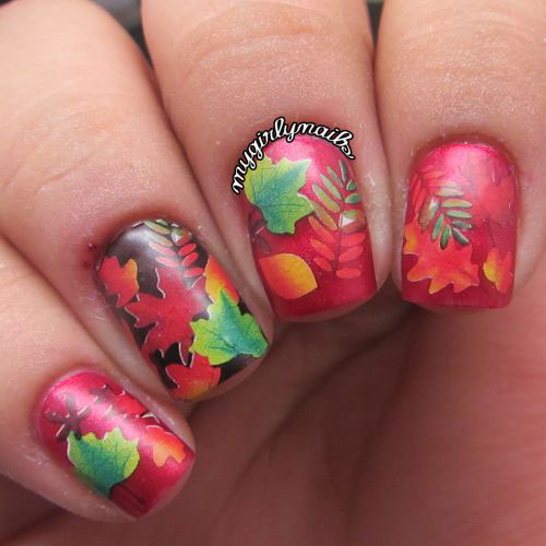 Red And Green Fall Leaves #nails #fall nails #beauty #trendypins