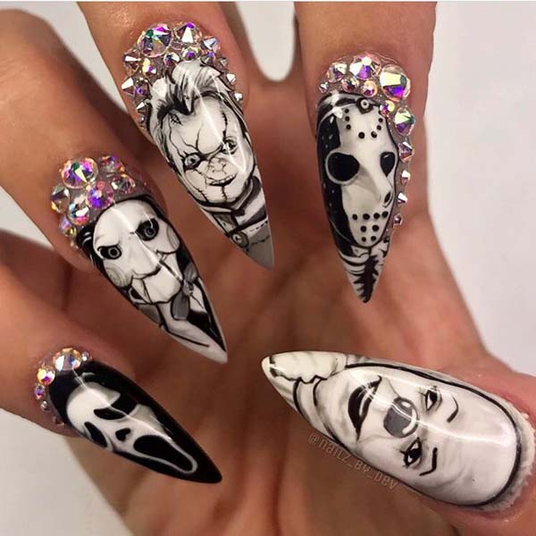 Crazy Faces in a Diamond Frame Nine Inch Halloween Nails #nails #Halloween nails #trendypins