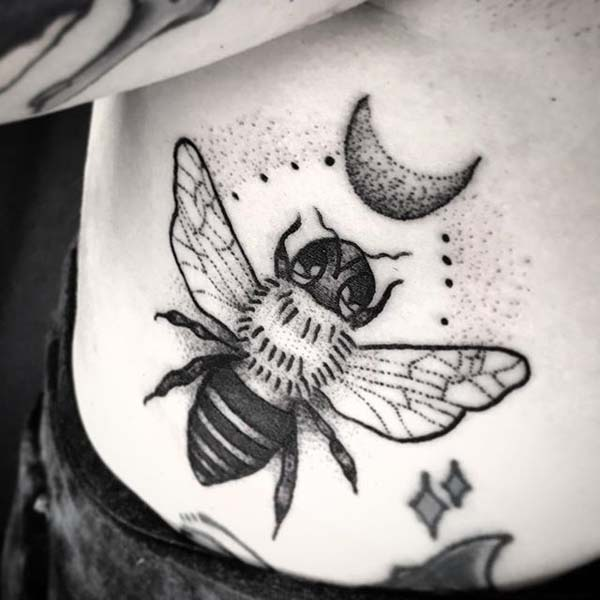 Just bee in Black Tattoo Design #bee tattoos #tattoo #beauty #trendypins