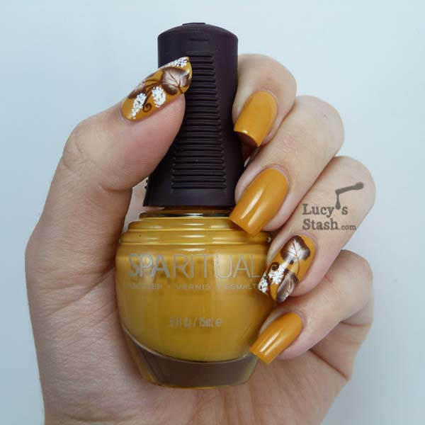 SpaRitual Positive Vibe As A Base Colour And Brown And White Acrylic Paint #nails #fall nails #beauty #trendypins