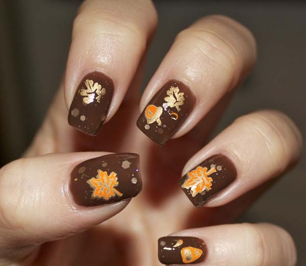 Brown Nail Polish With Golden Fall Leaves #nails #fall nails #beauty #trendypins
