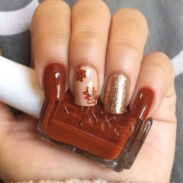 Fall Nail Design With Glitter Accent #nails #fall nails #beauty #trendypins