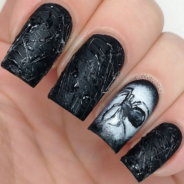 Black Matte With Spider Accent Halloween Nails Art Design #nails #Halloween nails #trendypins