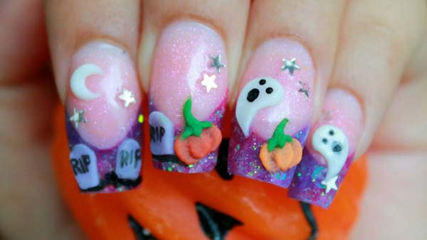 3D Candy Style Halloween Nail Art Design #Halloween #nails #trendypins