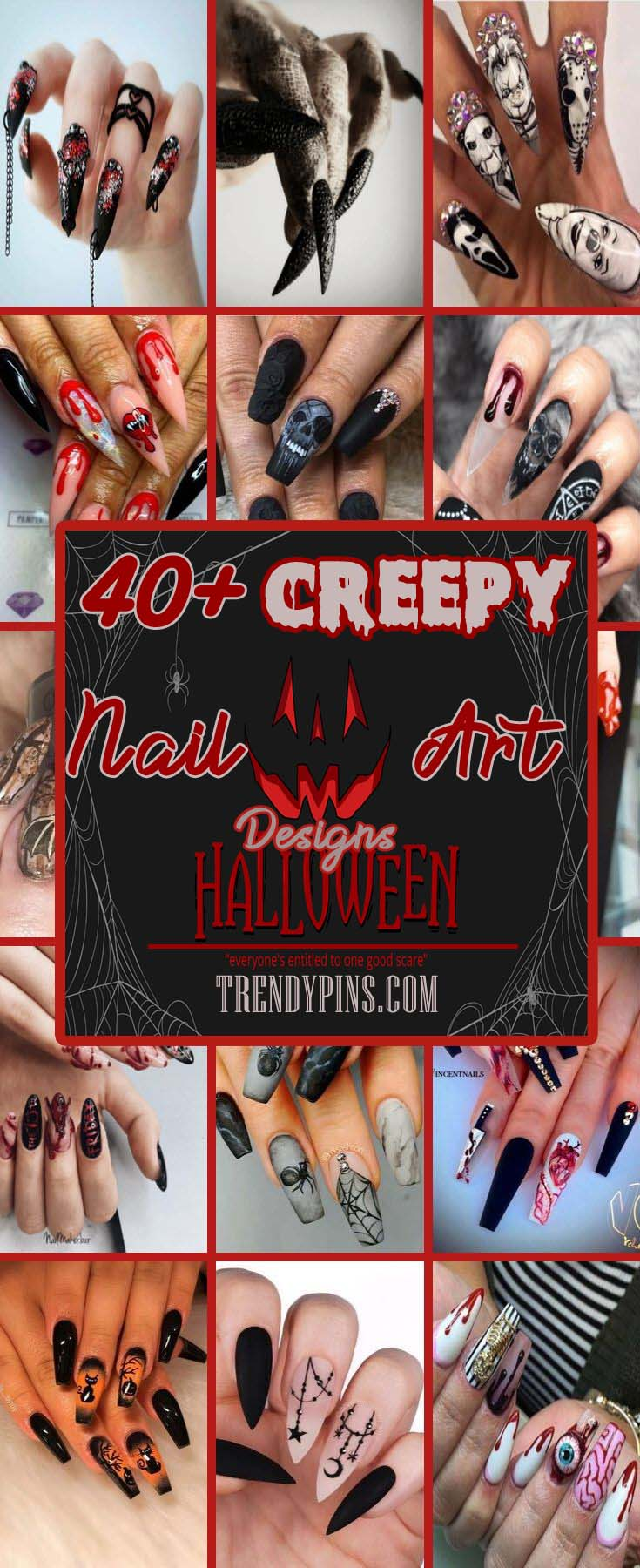 40+ Creepy Halloween Nail Art Designs #nails #Halloween nails #trendypins