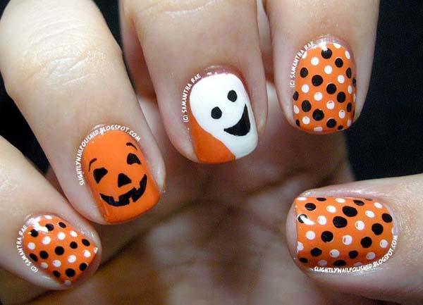 Cute  Dotted Halloween Nails #Halloween #nails #trendypins