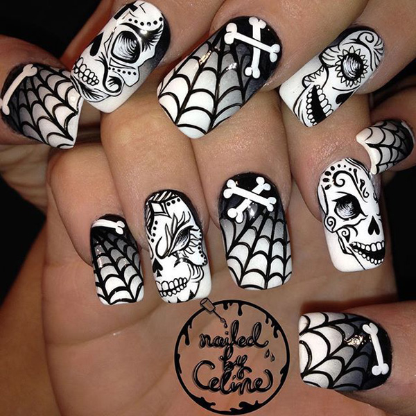 Black and White Halloween Nail Art Design #nails #Halloween nails #trendypins