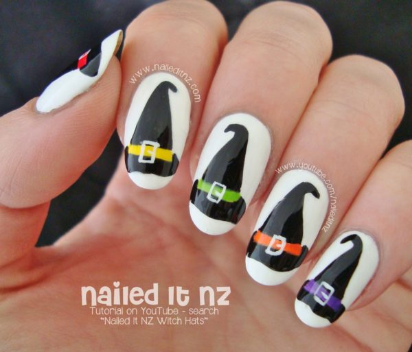 Black Hoodies With a Funny Colored Belts #Halloween #nails #trendypins