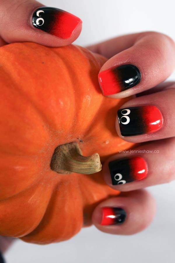 Black, Red and Ghost Ombre Spooky Eyes #Halloween #nails #trendypins