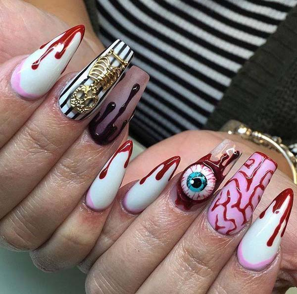 Bloody Eye Halloween Nail Polish Art #nails #Halloween nails #trendypins