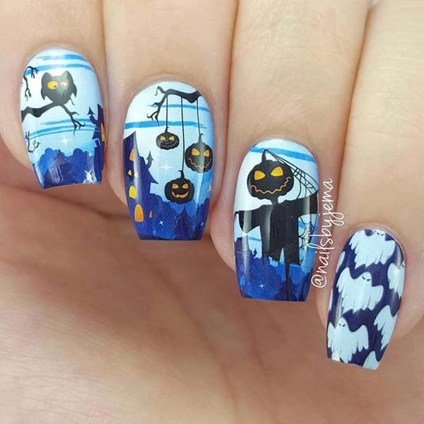 Horror Fairytale in Blue For Halloween Nails #Halloween #nails #trendypins