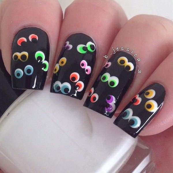 Funny Eyes in the Darkness Halloween Nails #Halloween #nails #trendypins