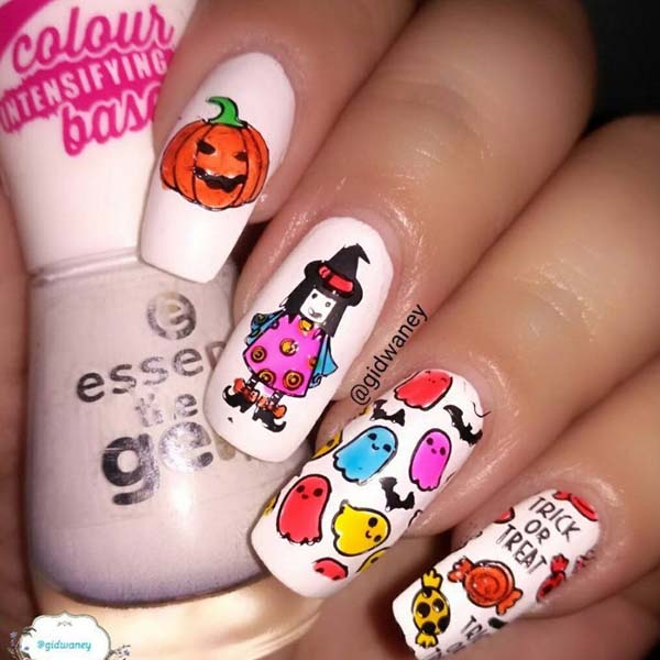 Spooky Halloween Ghost and Witches Colorful Artistic Nails #Halloween #nails #trendypins