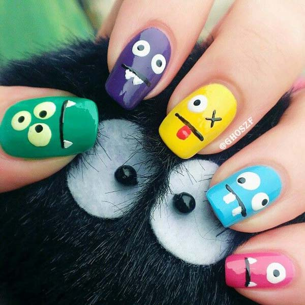 Colorful Ghosts On Halloween Nails