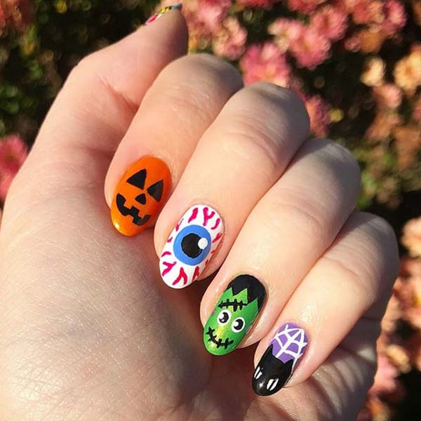 Adorable Fuzzy Monster Halloween Art Nails #Halloween #nails #trendypins