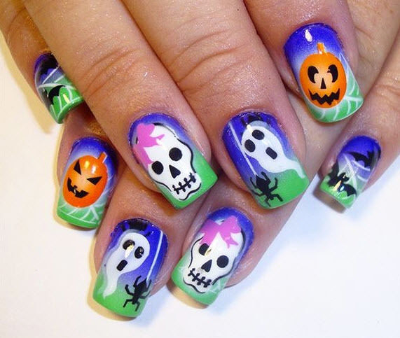 Funny Ghost and Pumpkins Nail Art #Halloween #nails #trendypins