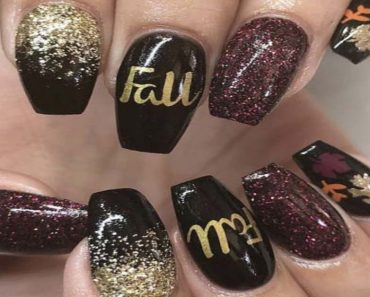 Fall Nail Design Rain of Gold in the Darkness