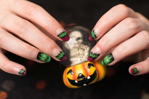 Whimsical Frankenstein Halloween Nails #Halloween #nails #trendypins
