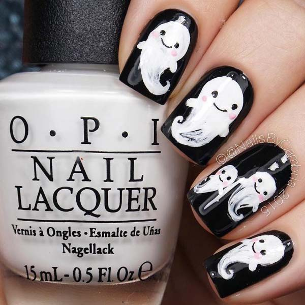 Black and White Ghostbuster Nails #Halloween #nails #trendypins