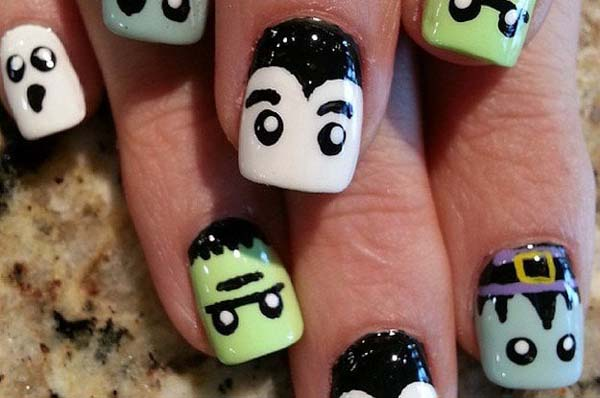 Funny Faces On Nails #Halloween #nails #trendypins