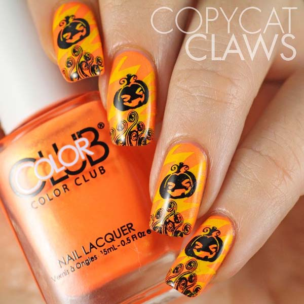 Black and Orange Pumpkin Nails #Halloween #nails #trendypins