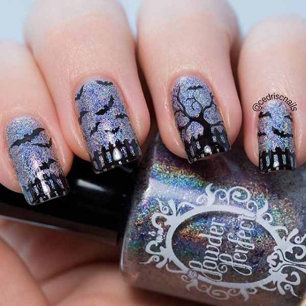 Devil Birds in the Sky Halloween Nails#nails #Halloween nails #trendypins