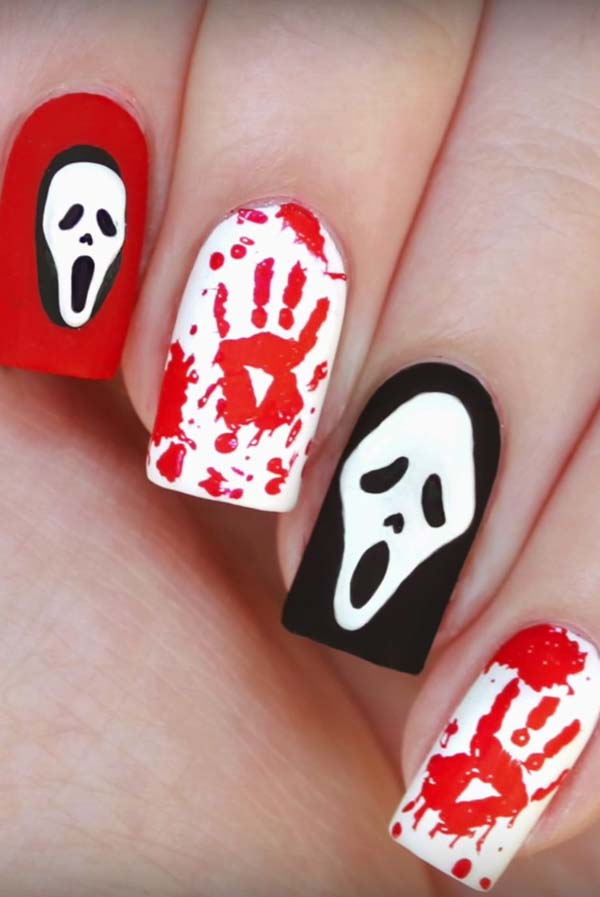 Funny Skeleton and Bloody Hand Prints #nails #Halloween nails #trendypins
