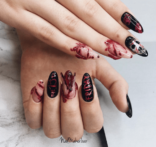 Bloody Nails on Fatal Friday #nails #Halloween nails #trendypins