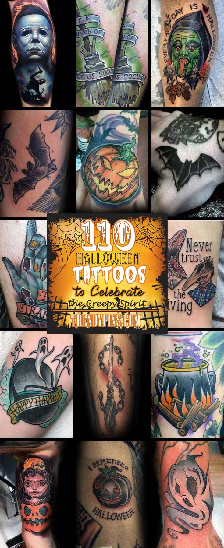 110 Halloween Tattoos to Celebrate the Creepy Spirit For All Time