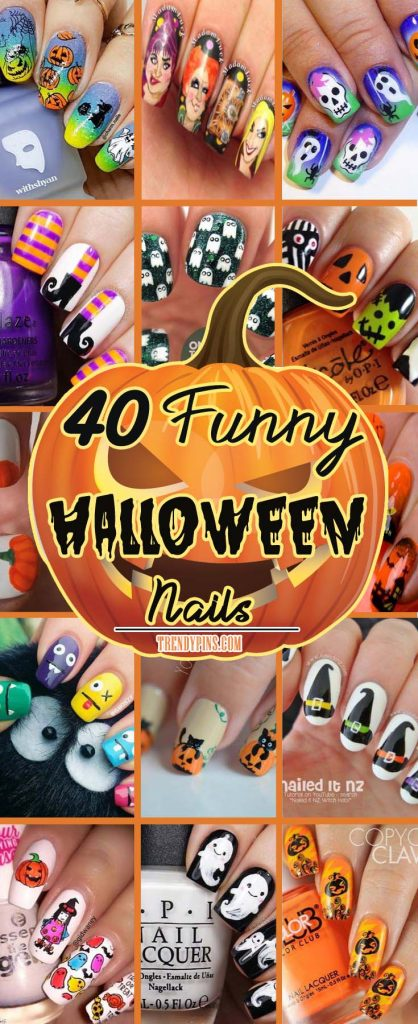 I've got a wonderful collection of 40 funny nail art designs that you can do for yourself. You're going to love these nail art designs and I hope you will share your favorite and how well it matched your Halloween costume! #Halloween #nails #trendypins