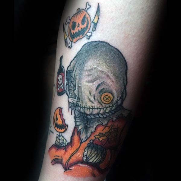 A Colorful, Yet Creepy Illustration of a Boy with Button Eyes #Halloween #tattoos #trendypins