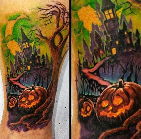 A Ghostly Scene Which Almost Resembles a Watercolor Painting #Halloween #tattoos #trendypins