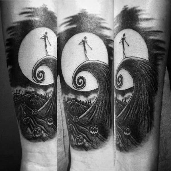 A Monochrome Nightmare Before Christmas Tattoo #Halloween #tattoos #trendypins