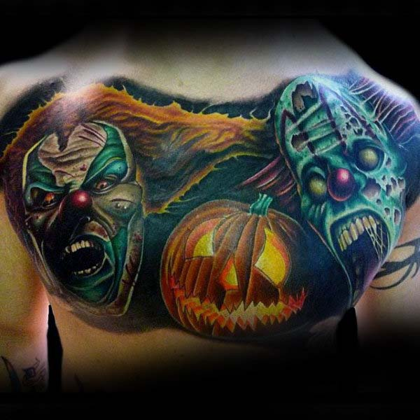 A Pair of Ghoulish Clowns #Halloween #tattoos #trendypins