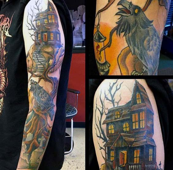 A Sleeve Tattoo of a Raven Sitting in an Old Oak Tree #Halloween #tattoos #trendypins