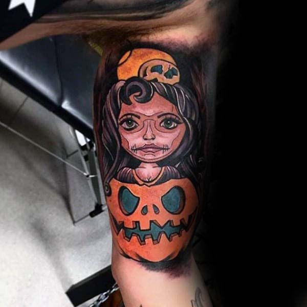 A Wide-eyed Girl Peeking Out of a Jack O'lantern #Halloween #tattoos #trendypins