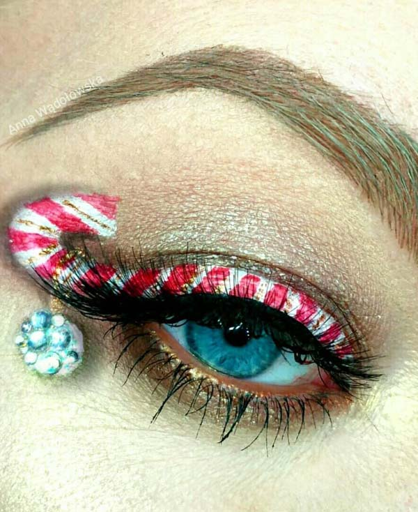 Candy Cane Eyeliner and Rhinestones #Christmas #makeup #beauty #trendypins