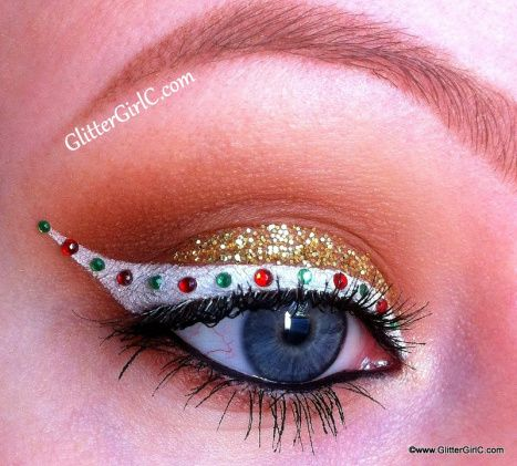 Christmas Colored Rhinestones on White Snow Base and Gold Glitter Shadows #Christmas #makeup #beauty #trendypins