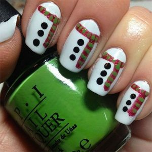 Christmas Nail Art Design on Snow White Base