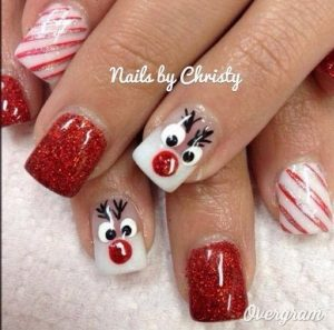 Christmas Reindeer and Red-White Stripes Nails