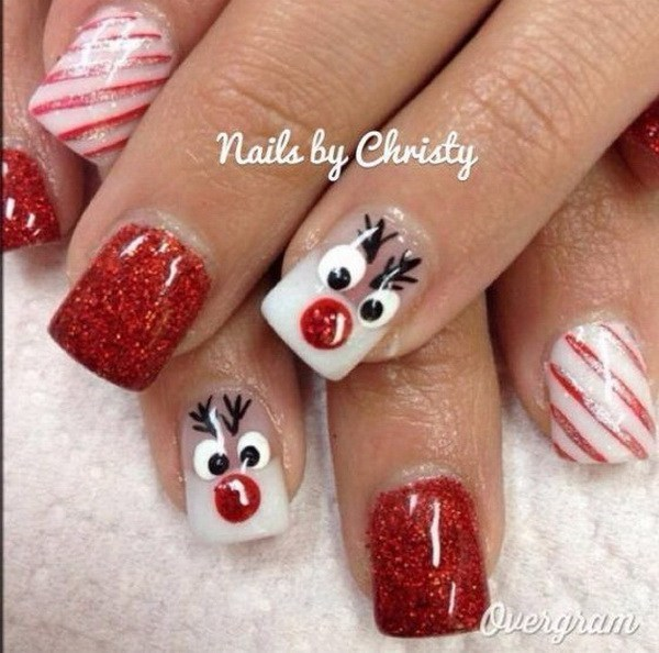Christmas Reindeer and Red-White Stripes Nails#Christmas #nails #trendypins